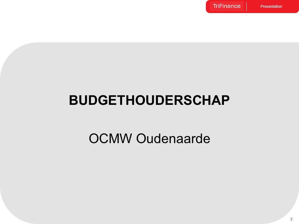 BUDGETHOUDERSCHAP OCMW Oudenaarde