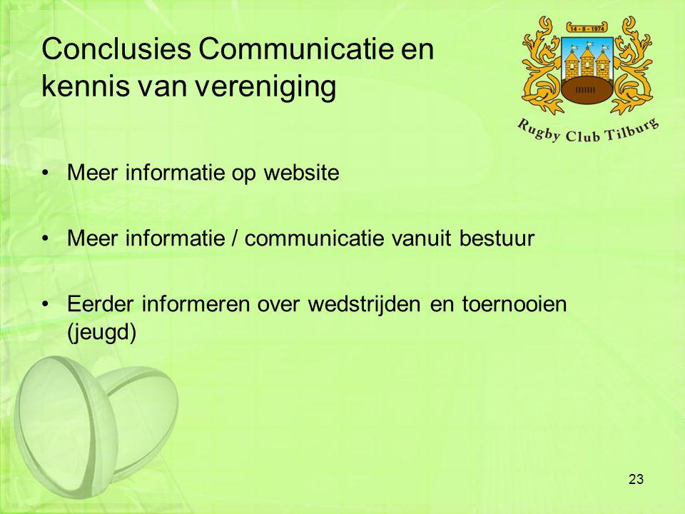 Conclusies Communicatie en kennis van vereniging