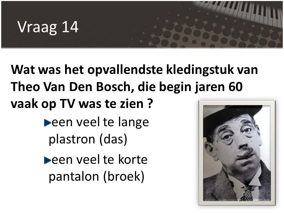 Vraag 14 Wat was het opvallendste kledingstuk van Theo Van Den Bosch, die begin jaren 60 vaak op TV was te zien