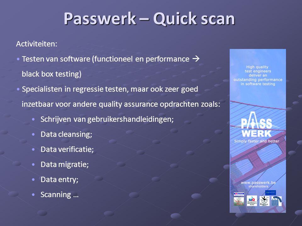Passwerk – Quick scan Activiteiten: