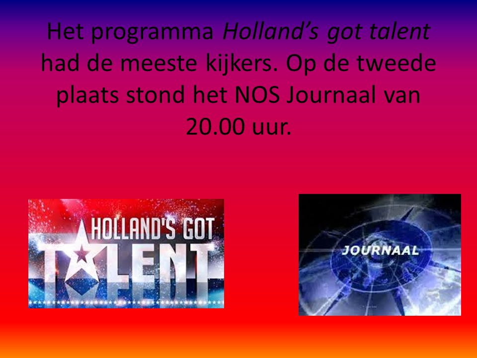 Het programma Holland's got talent had de meeste kijkers