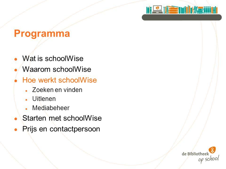 Programma Wat is schoolWise Waarom schoolWise Hoe werkt schoolWise