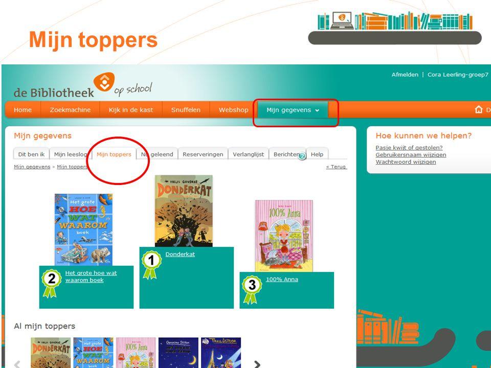 Mijn toppers Bij 'mijn toppers' kunnen kinderen zien welke boeken zij de meeste sterren hebben gegeven.