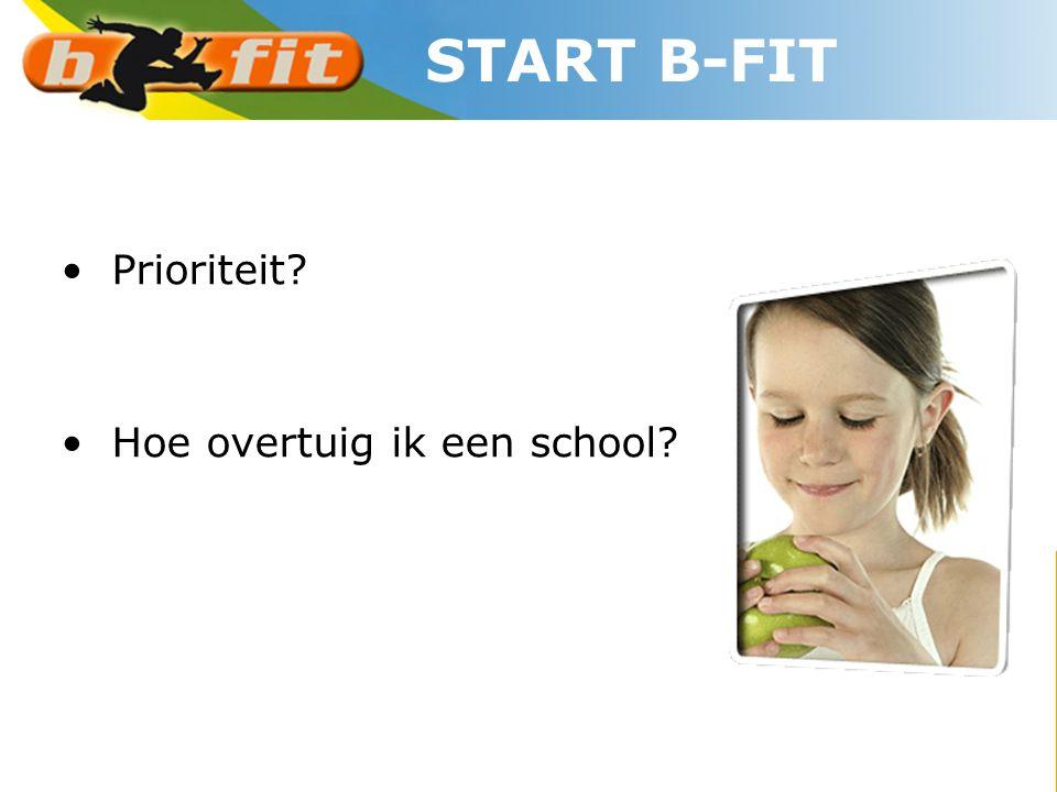 START B-FIT Prioriteit Hoe overtuig ik een school