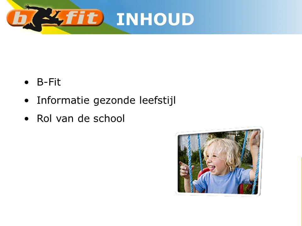 INHOUD B-Fit Informatie gezonde leefstijl Rol van de school
