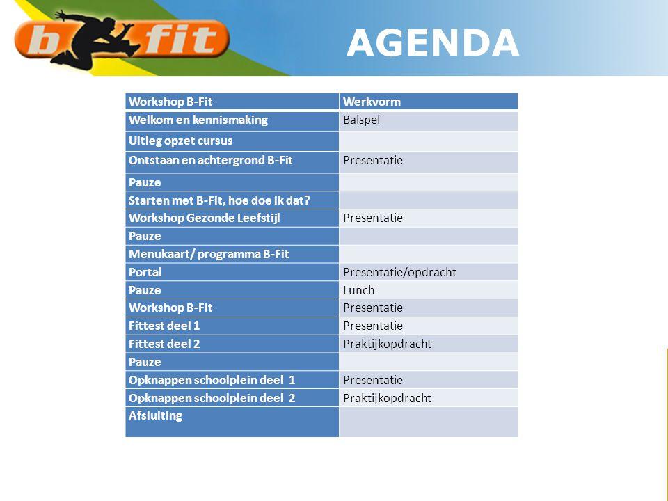 AGENDA Workshop B-Fit Werkvorm Welkom en kennismaking Balspel