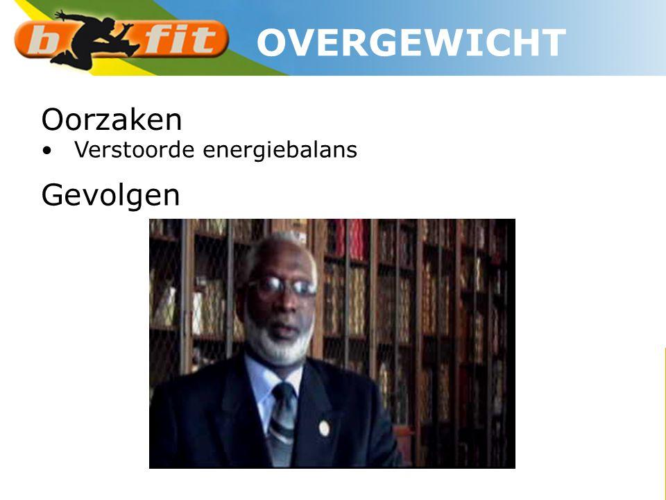 OVERGEWICHT Oorzaken Verstoorde energiebalans Gevolgen