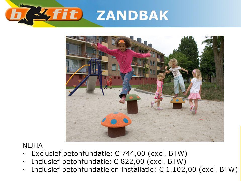 ZANDBAK NIJHA Exclusief betonfundatie: € 744,00 (excl. BTW)