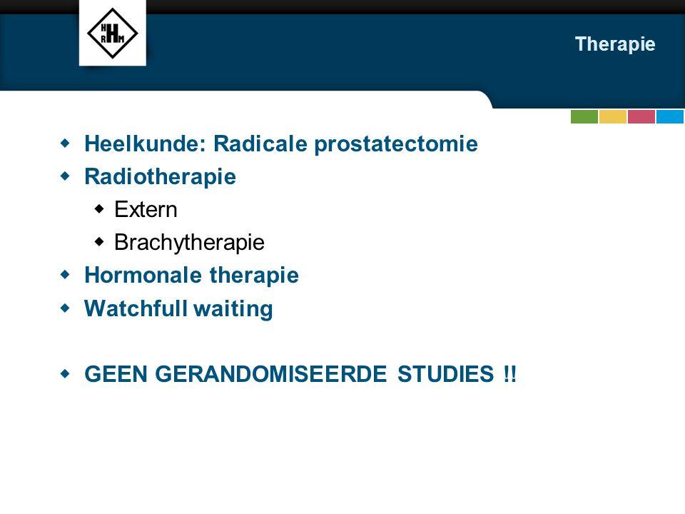 Heelkunde: Radicale prostatectomie Radiotherapie Extern Brachytherapie