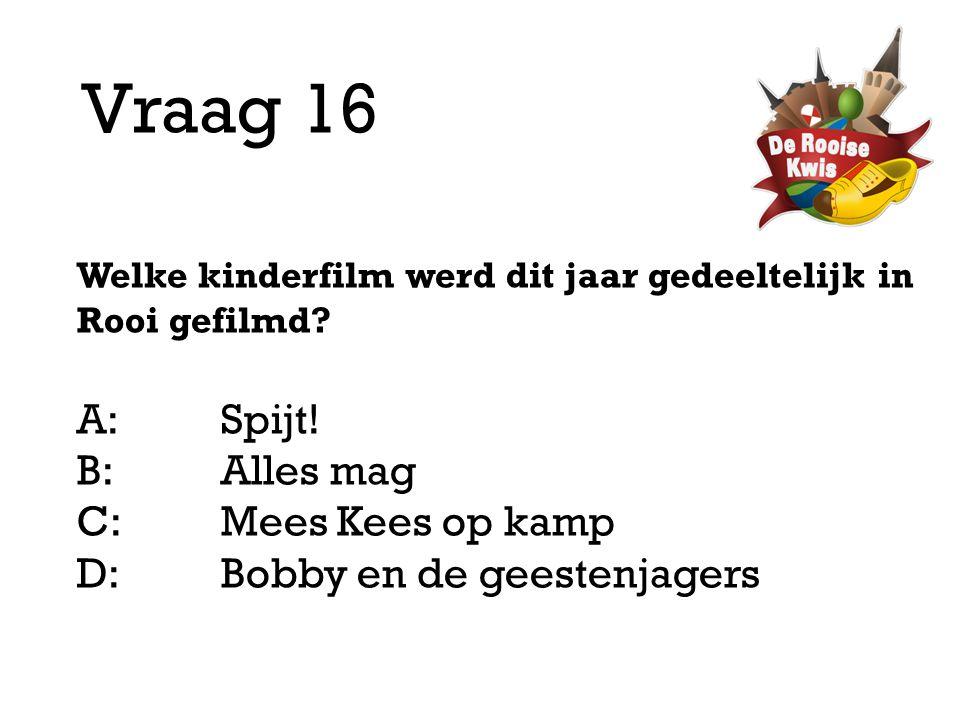 Vraag 16 A: Spijt! B: Alles mag C: Mees Kees op kamp