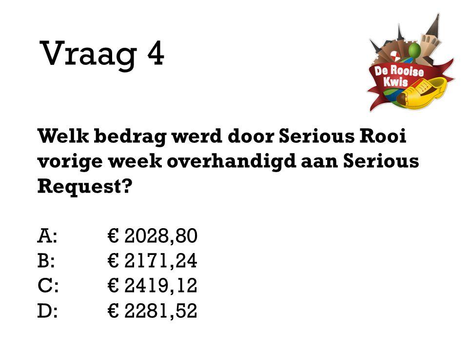 Vraag 4 Welk bedrag werd door Serious Rooi vorige week overhandigd aan Serious Request A: € 2028,80.