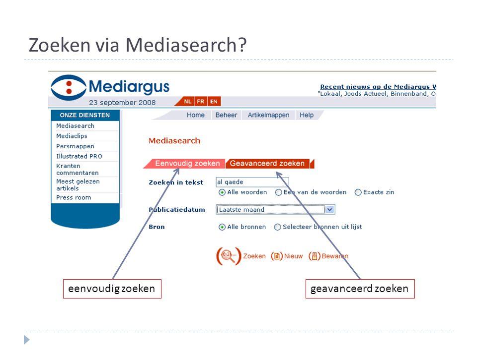 Zoeken via Mediasearch