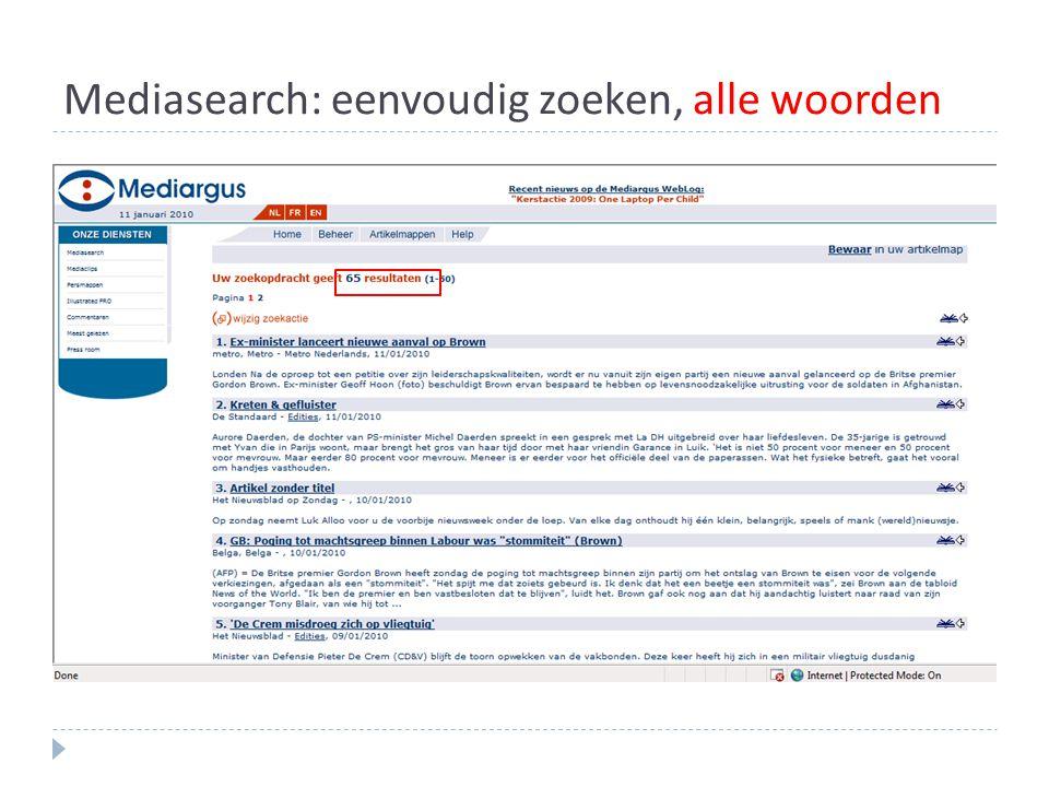 Mediasearch: eenvoudig zoeken, alle woorden