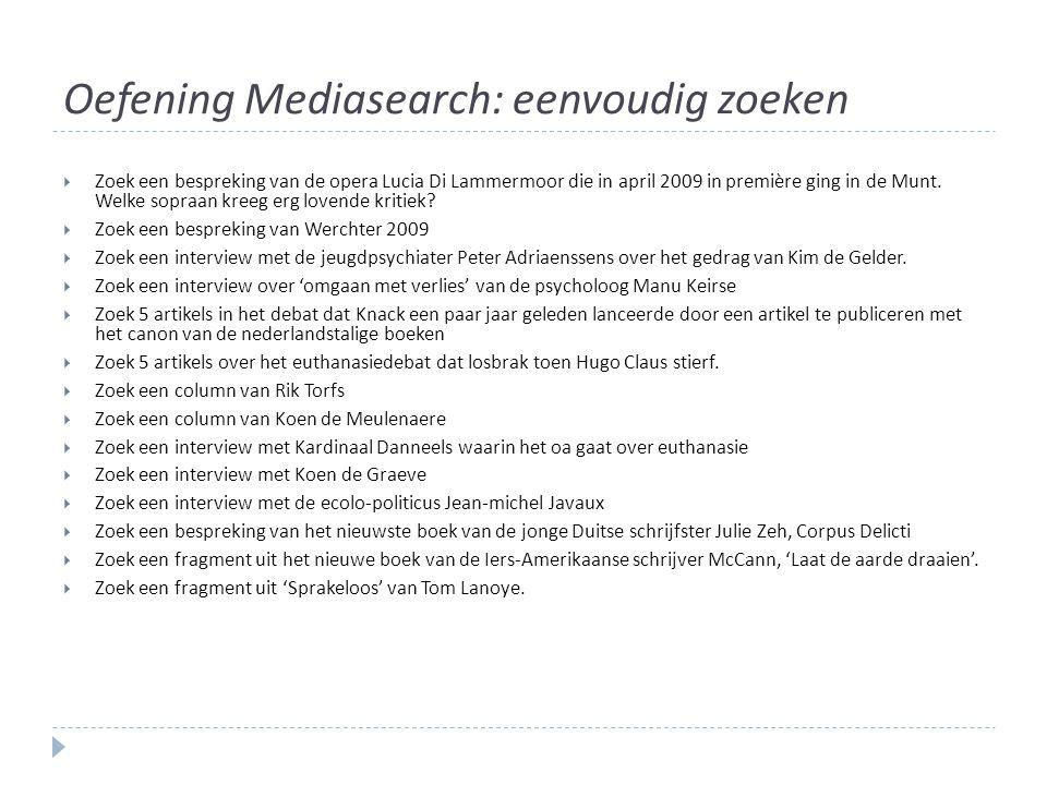 Oefening Mediasearch: eenvoudig zoeken
