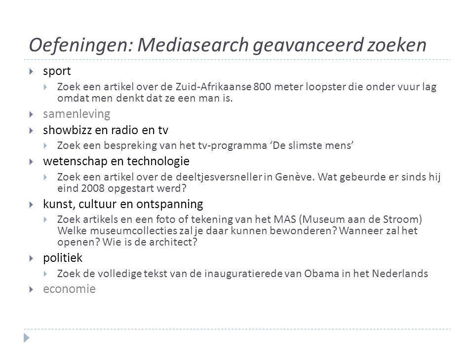 Oefeningen: Mediasearch geavanceerd zoeken