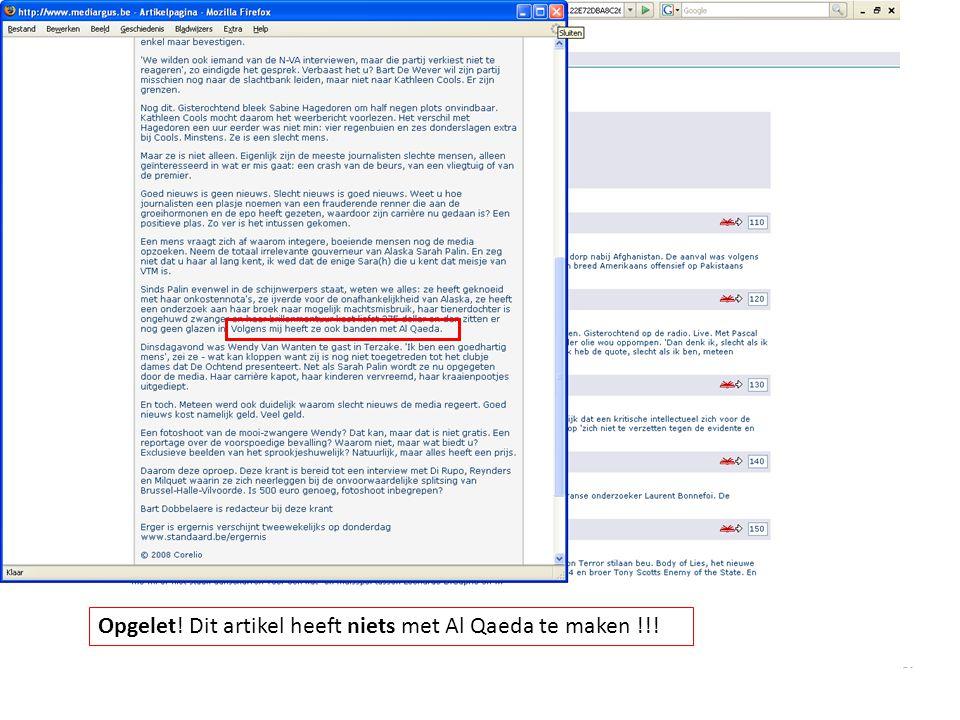 Opgelet! Dit artikel heeft niets met Al Qaeda te maken !!!