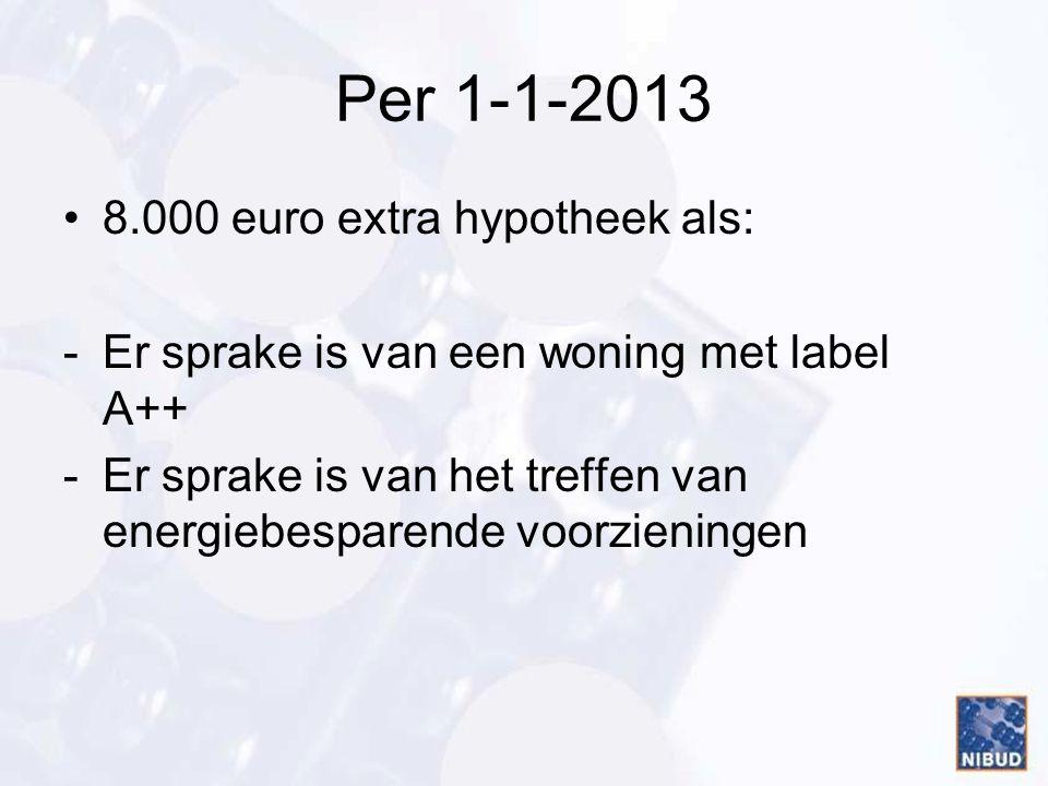 Per 1-1-2013 8.000 euro extra hypotheek als: