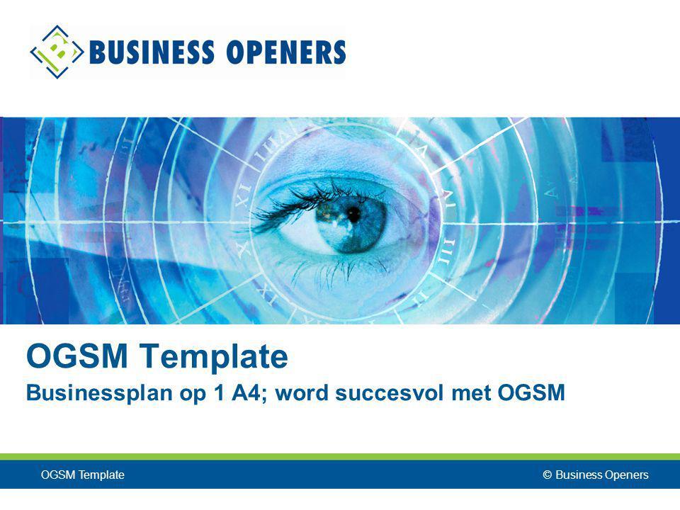 OGSM Template Businessplan op 1 A4; word succesvol met OGSM