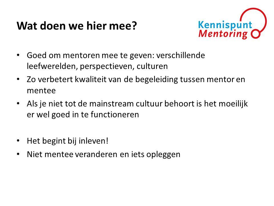 Wat doen we hier mee Goed om mentoren mee te geven: verschillende leefwerelden, perspectieven, culturen.