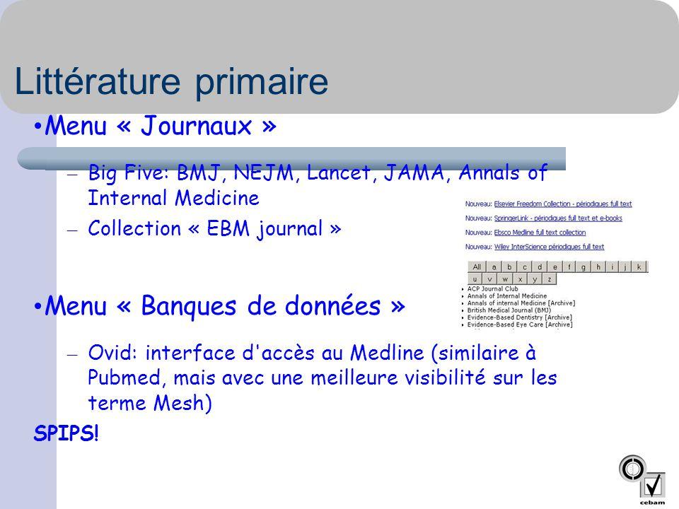Littérature primaire Menu « Journaux » Menu « Banques de données »