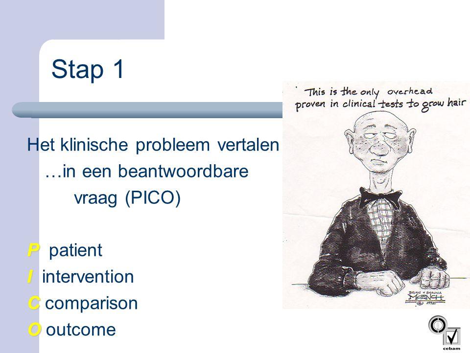 Stap 1 Het klinische probleem vertalen … …in een beantwoordbare vraag (PICO) P patient I intervention C comparison O outcome