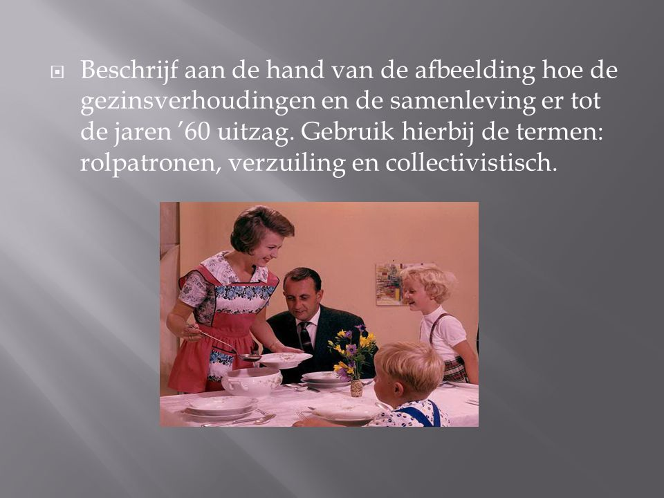 Beschrijf aan de hand van de afbeelding hoe de gezinsverhoudingen en de samenleving er tot de jaren '60 uitzag.