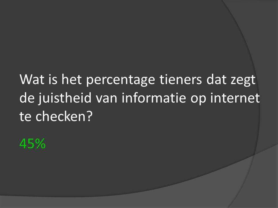 Wat is het percentage tieners dat zegt de juistheid van informatie op internet te checken