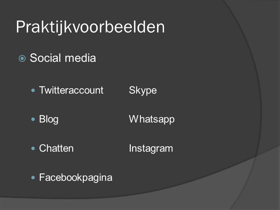 Praktijkvoorbeelden Social media Twitteraccount Skype Blog Whatsapp