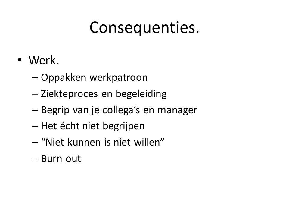 Consequenties. Werk. Oppakken werkpatroon Ziekteproces en begeleiding