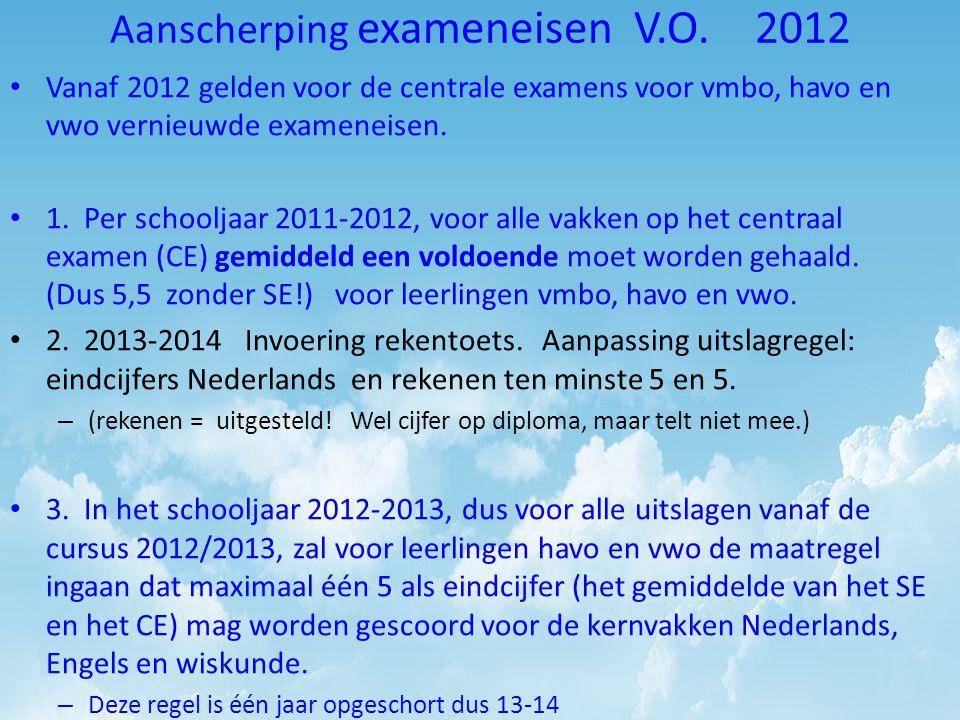 Aanscherping exameneisen V.O. 2012