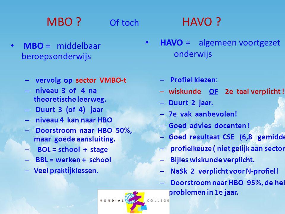 MBO Of toch HAVO HAVO = algemeen voortgezet onderwijs
