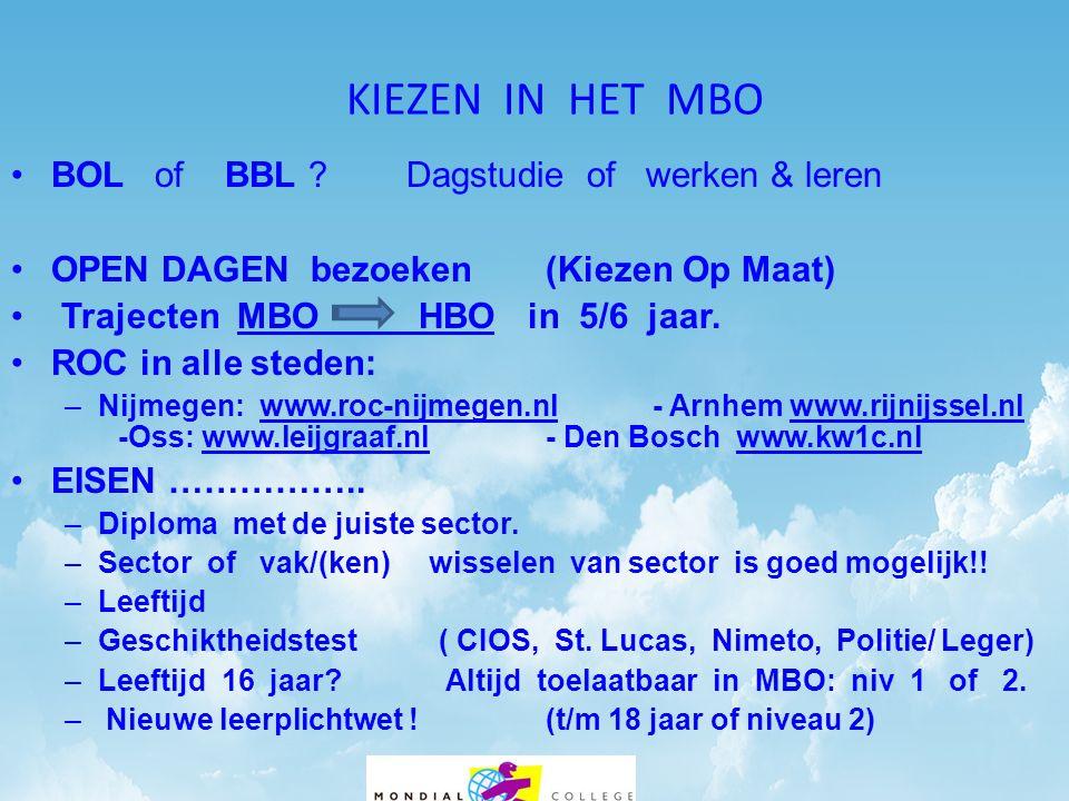 KIEZEN IN HET MBO BOL of BBL Dagstudie of werken & leren