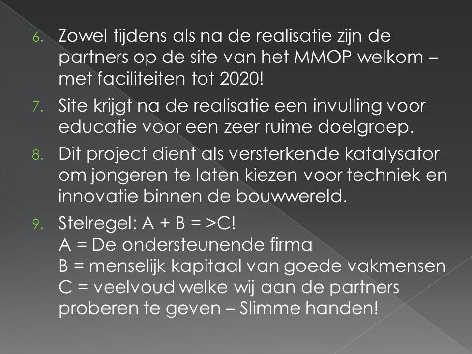 Zowel tijdens als na de realisatie zijn de partners op de site van het MMOP welkom – met faciliteiten tot 2020!