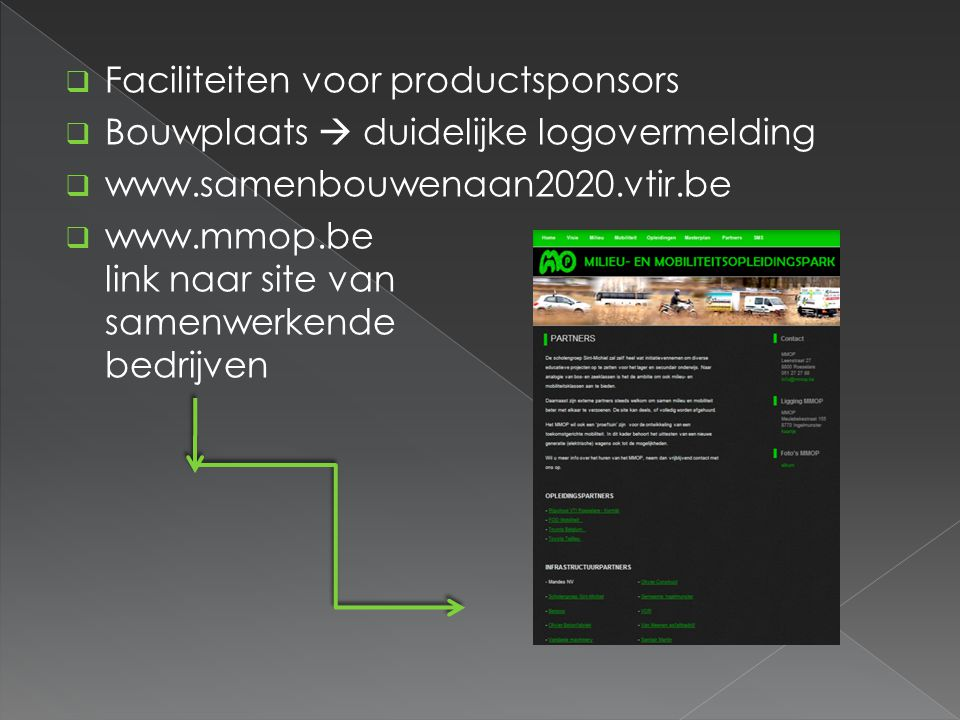 Faciliteiten voor productsponsors