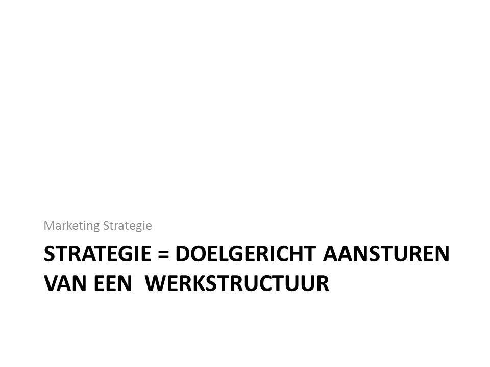 Strategie = doelgericht aansturen van een werkstructuur