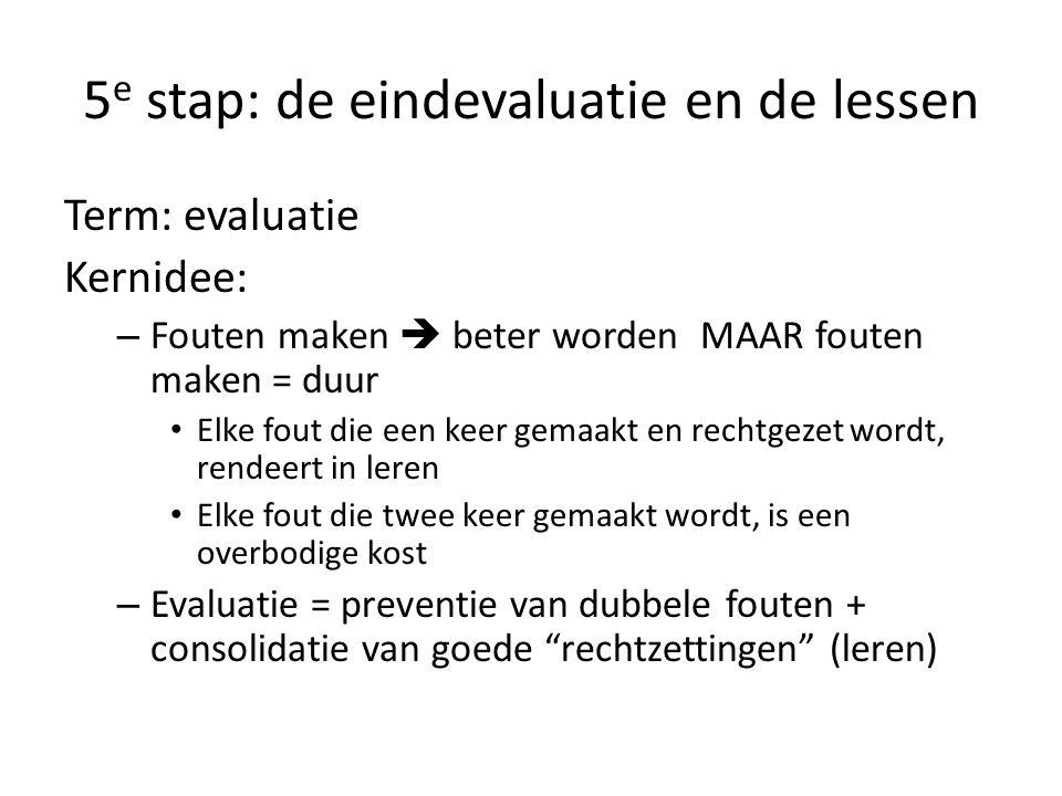 5e stap: de eindevaluatie en de lessen