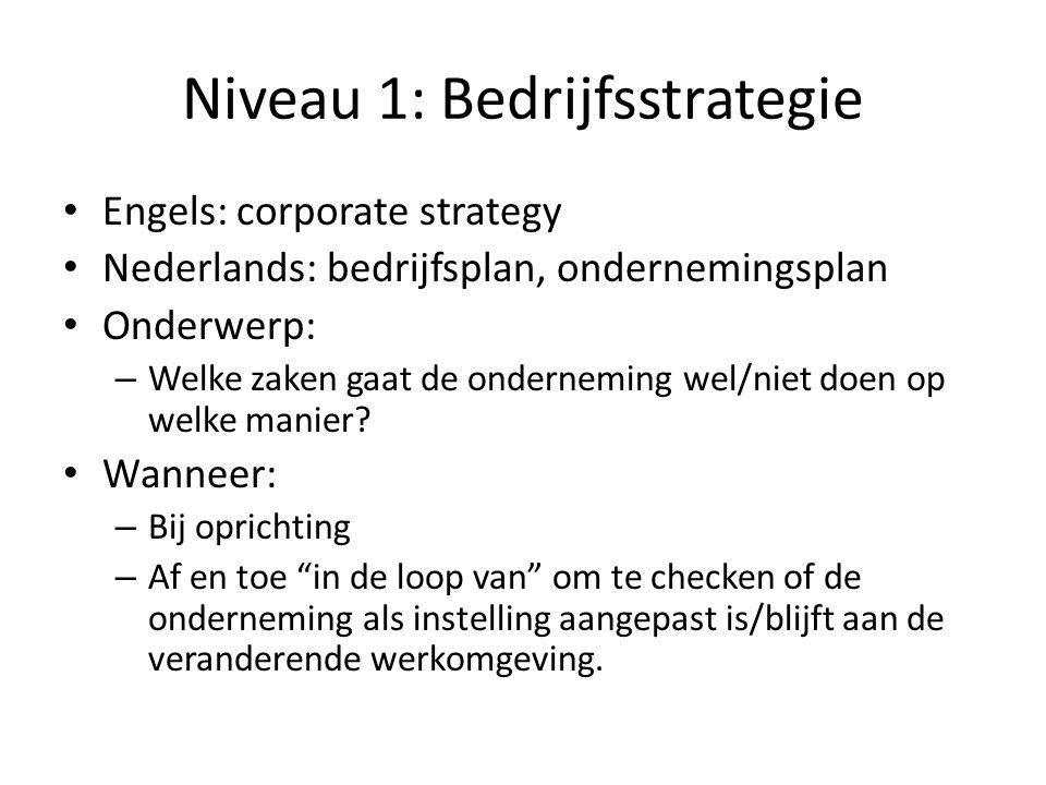 Niveau 1: Bedrijfsstrategie