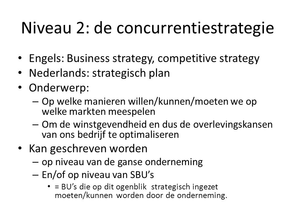 Niveau 2: de concurrentiestrategie