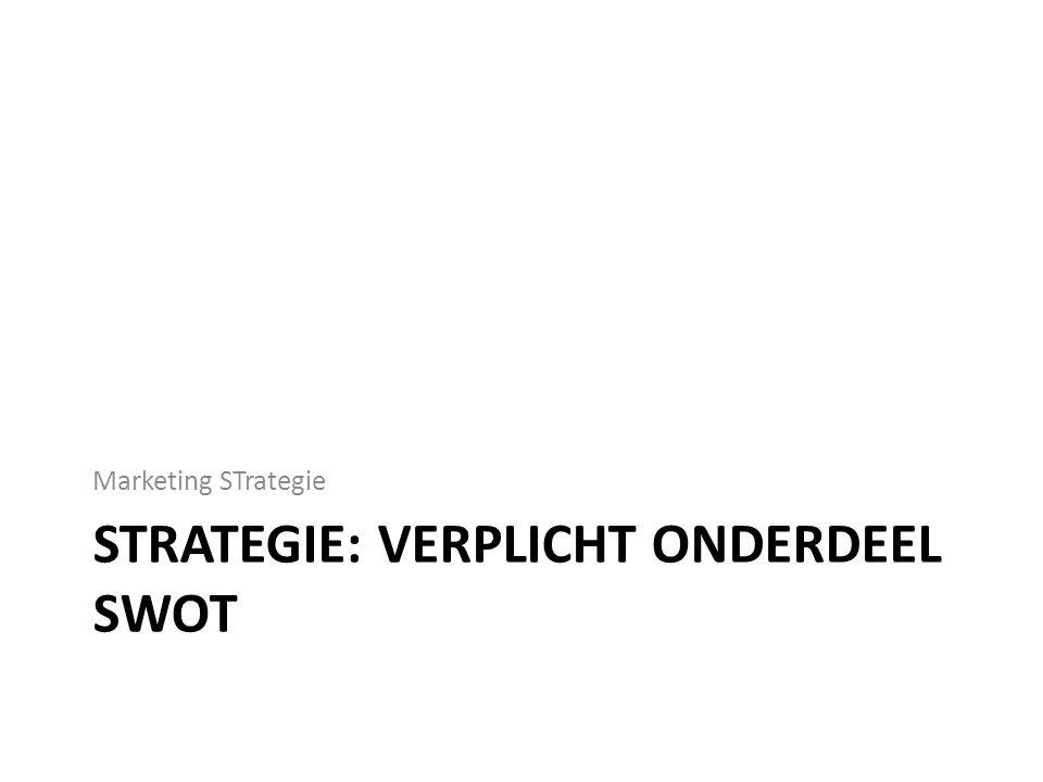 Strategie: verplicht onderdeel SWOT
