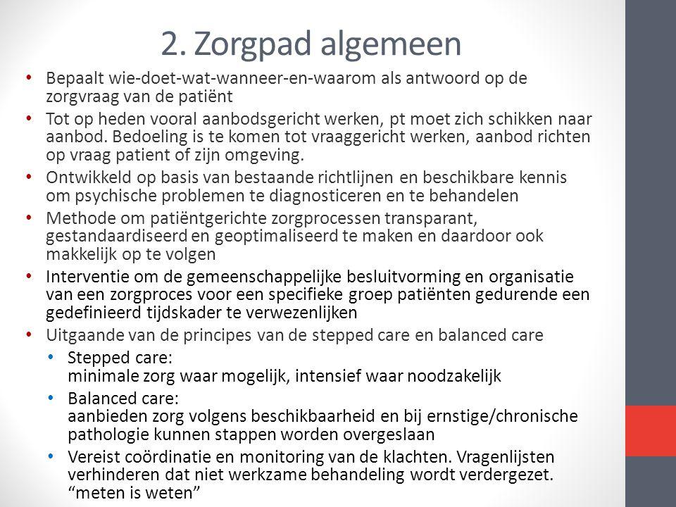 2. Zorgpad algemeen Bepaalt wie-doet-wat-wanneer-en-waarom als antwoord op de zorgvraag van de patiënt.