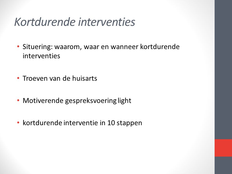 Kortdurende interventies