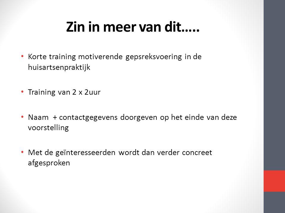 Zin in meer van dit….. Korte training motiverende gepsreksvoering in de huisartsenpraktijk. Training van 2 x 2uur.