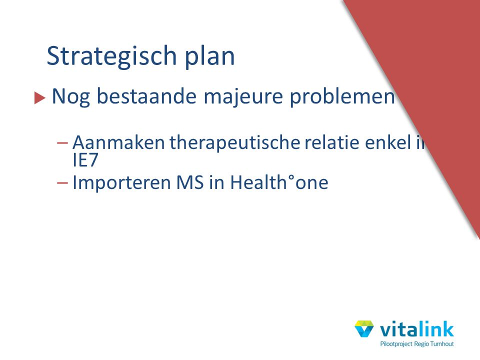 Strategisch plan Nog bestaande majeure problemen :