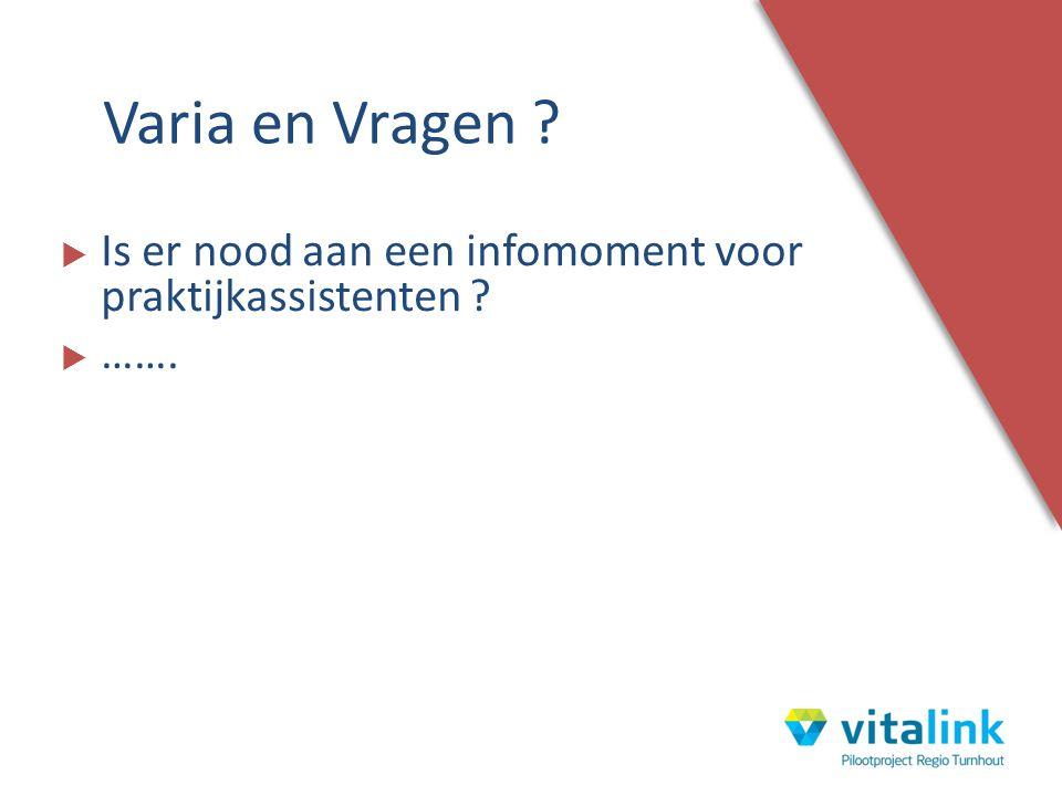 Varia en Vragen Is er nood aan een infomoment voor praktijkassistenten …….