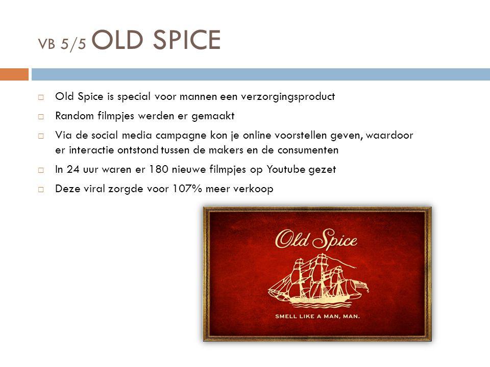VB 5/5 OLD SPICE Old Spice is special voor mannen een verzorgingsproduct. Random filmpjes werden er gemaakt.