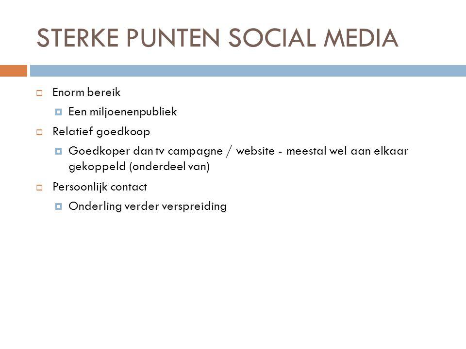 STERKE PUNTEN SOCIAL MEDIA