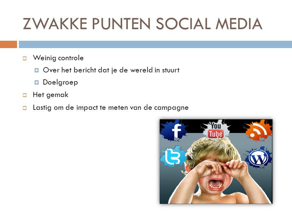 ZWAKKE PUNTEN SOCIAL MEDIA