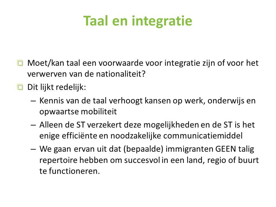 Taal en integratie Moet/kan taal een voorwaarde voor integratie zijn of voor het verwerven van de nationaliteit