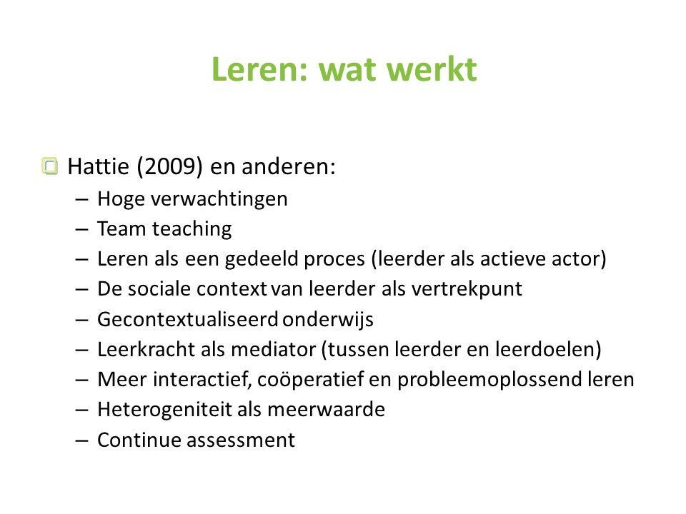 Leren: wat werkt Hattie (2009) en anderen: Hoge verwachtingen
