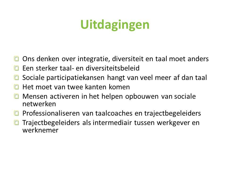 Uitdagingen Ons denken over integratie, diversiteit en taal moet anders. Een sterker taal- en diversiteitsbeleid.